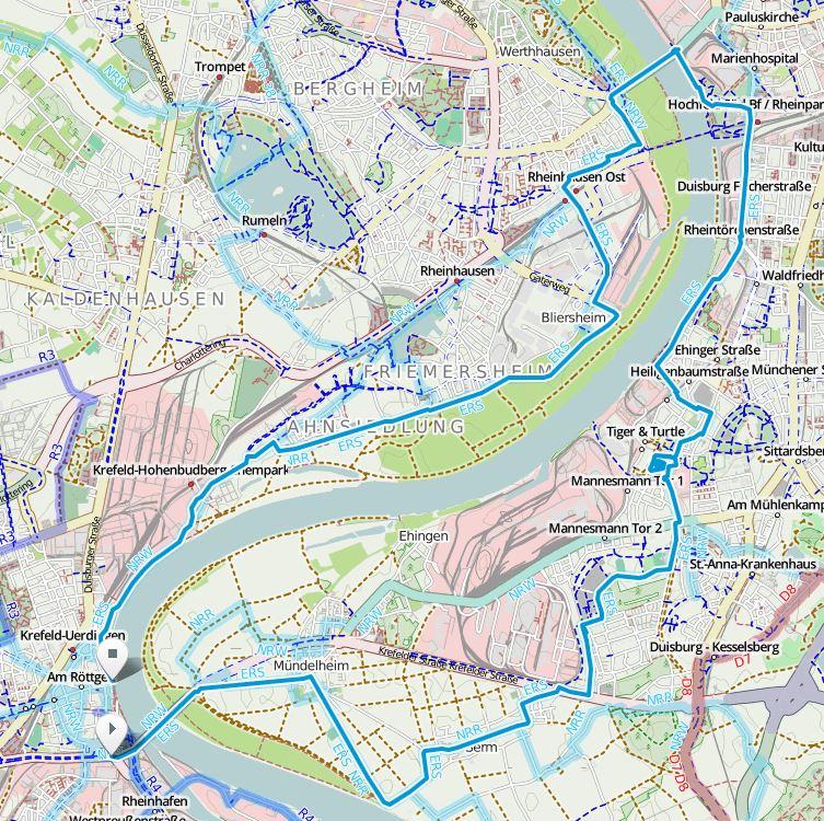 Die ca. 30 km lange Route folgt dem Erlebnisweg Rheinschiene (ERS) © OpenStreetMap-Mitwirkende, Kartografie-Lizenz CC BY-SA