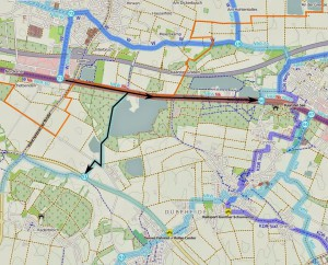 Knotenpunktrouten von Schiefbahn nach Kaarst und Korschenbroich sind ausgeschildert, in umgekehrter Richtung (noch) nicht.