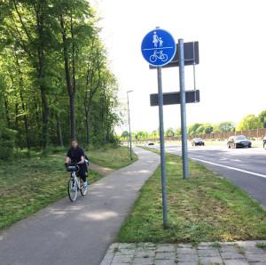 Zeichen 240: Gemeinsamer Fuß- und Radweg, hier auf einem Zweirichtungsradweg. Fahrradfahrer müssen hier Rücksicht auf Fußgänger nehmen.