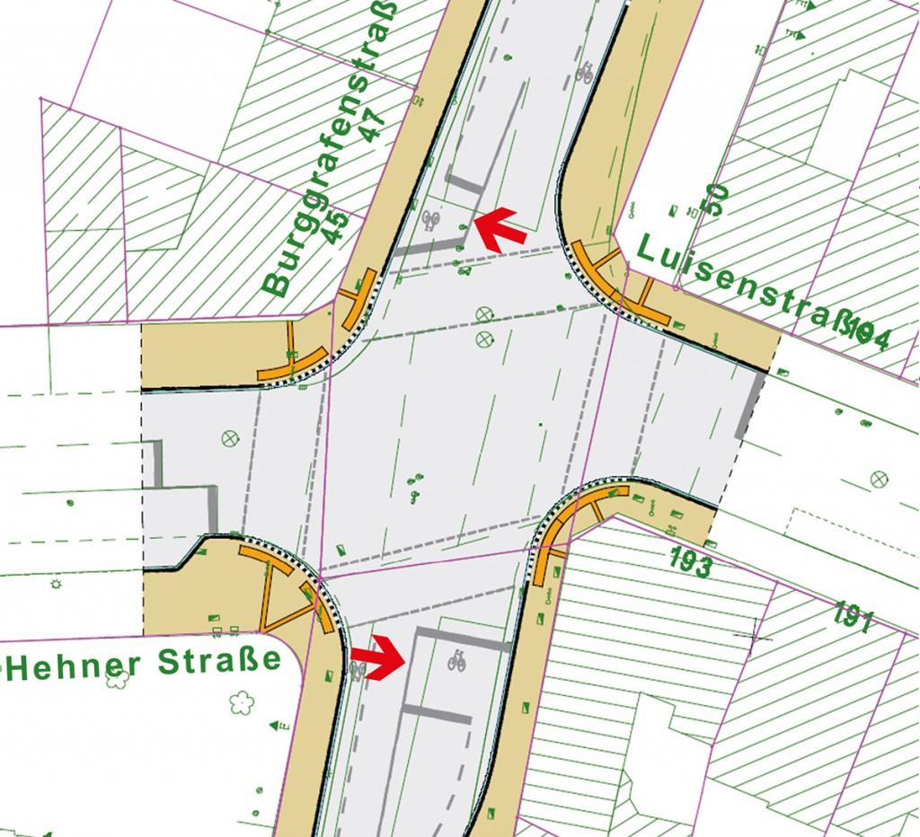 Hauptverkehrsachse mit Austellfläche für Fahrradfahrer (rote Pfeile), Burggrafenstraße/Marktgrafenstraße Quelle; Ratsinformationssystem der Stadt Mönchengladbach, Stand 30.09.2015