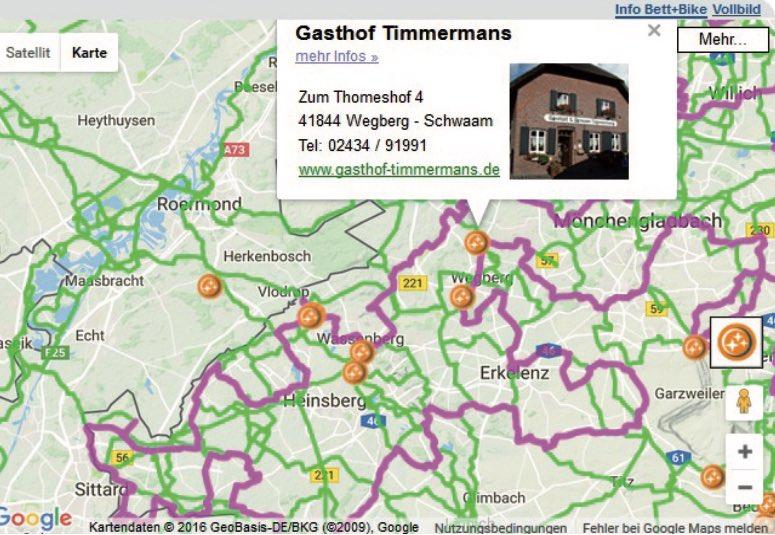 Bett+Bike Tourenportal: Hilft bei der Planung. Lage und Kontaktdaten der Unterkunft werden im Tourenportal direkt angezeigt